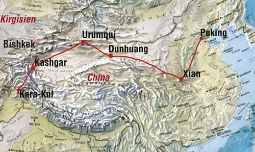 Chinesische Mauer Karte.China Seidenstrasse Individualreise